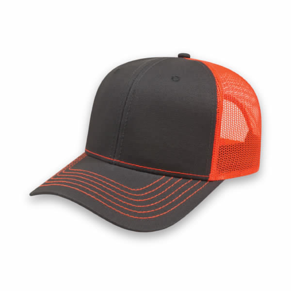 Charcoal/Blaze Modified Flat Bill with Mesh Back Cap